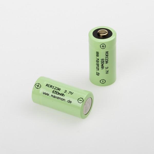 Li-Ion Akku RCR 123A; 3,7V (4,2V); 2er-Pack