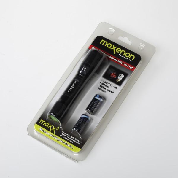 Maxx 3 - Taschenlampe LED ROT im Blister